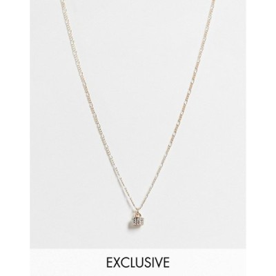 リクレイム ヴィンテージ レディース ネックレス・チョーカー アクセサリー Reclaimed Vintage Inspired drop necklace with white topaz pendant in gold