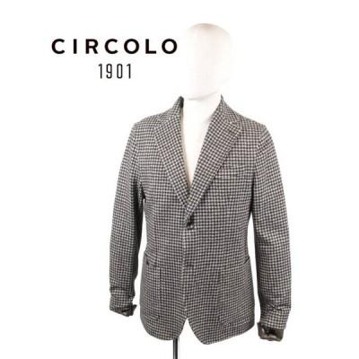 CIRCOLO1901 チルコロ1901 2Bシングルテーラードジャケット ジャージー プリント 千鳥格子 9204A240519 NERO 国内正規品