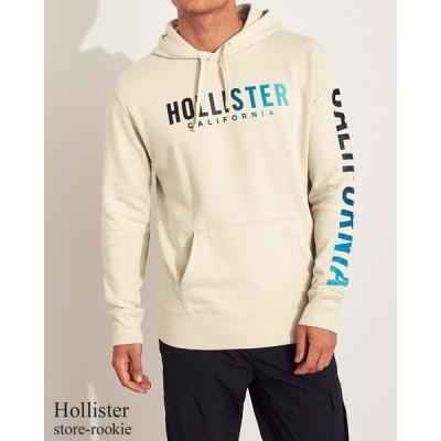 ホリスター プルオーバー HOLLISTER メンズ グラデーションプリント グラフィック フーディー スウェットパーカー 長袖/タン