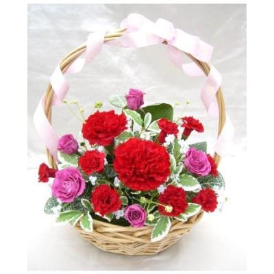 モーブピンクのバラと真っ赤なカーネのグラデーション情熱カラーのバスケットアレンジプリザーブドフラワー