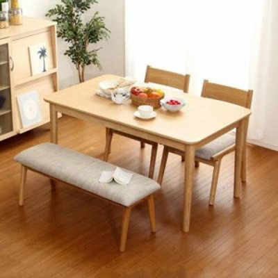 ダイニングテーブルセット ダイニングセット おしゃれ 安い 北欧 食卓 4人用 四人用 3人 130×75 椅子 2脚 ベンチ 1脚 ナチュラル カント