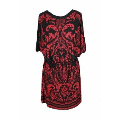 Red  ファッション ドレス Inc International Concepts Red Black Printed Blouson Shift Dress M