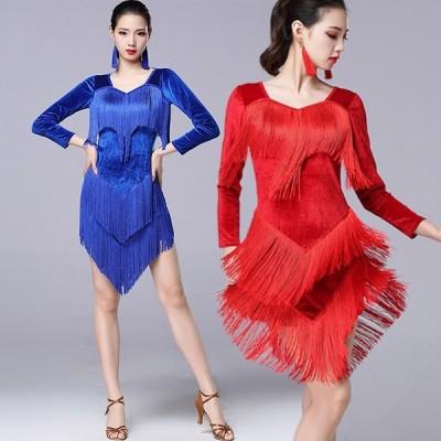 社交ダンス ラテンドレス ラテン ダンス 衣装 ワンピース ドレス ステージ衣装 袖あり 長袖 半袖 大きいサイズ 3L ミニ丈 フリンジ レッスンウェア 練習着