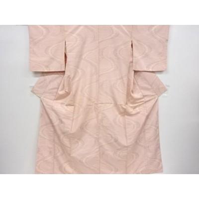 宗sou 流水に花模様織出手織り節紬着物【リサイクル】【着】