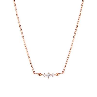 K10ピンクゴールドダイヤモンドネックレス