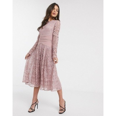 エイソス レディース ワンピース トップス ASOS DESIGN long sleeve prom dress in lace with circle trim details Dusty rose