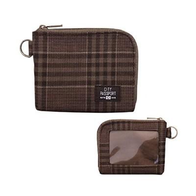 財布 小型 パスケース コインケース チェック ブラウン 薄型 メンズ ( 日本製 小物 旅行 サブウォレット おしゃれ プレゼント ) C