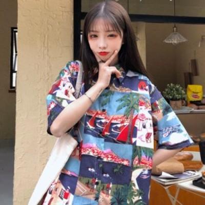 レディースファッション ストリートヴィンテージブラウス女性レトロシャツ学生半袖トップス韓国風ヒップホップルーズハーフスリーブシャ