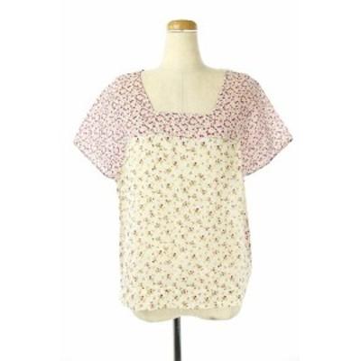 【中古】アール R by 45rpm ブラウス カットソー 小花柄 総柄 半袖 1 ピンク 白 レディース