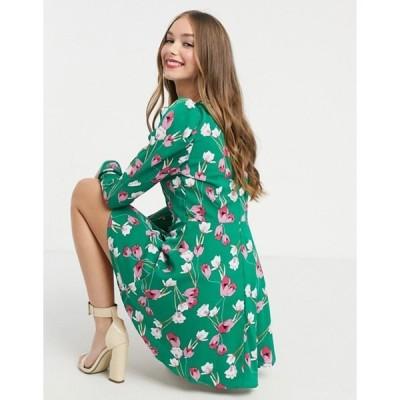 ガール イン マインド レディース ワンピース トップス Girl In Mind long puff sleeve mini skater dress in green floral