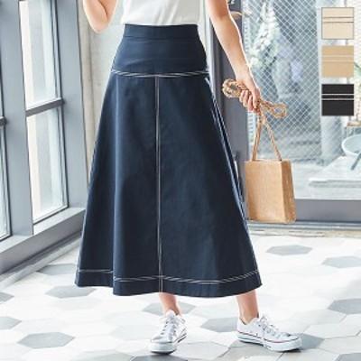 ステッチバックゴムサイドジップAラインロングスカート M2985 入荷済 春新作 2021 レディース 体型カバー 母の日 ボトムス 大人 綿100 白
