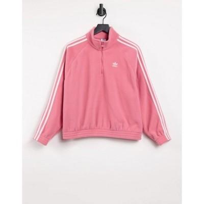 アディダス レディース シャツ トップス adidas Originals adicolor three stripe quarter zip fleece sweatshirt in hazy rose