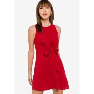 サムシングボロウド Something Borrowed レディース パーティードレス ワンピース・ドレス Front Knot Fit and Flare Dress Rust
