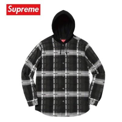 Supreme シュプリーム Hooded Jacquard Flannel Shirt シャツ フランネル ブラック 2018-19年秋冬