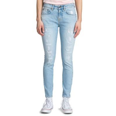 ピーアールピーエス レディース デニムパンツ ボトムス Mid-Rise Distressed Light-Wash Skinny Jeans