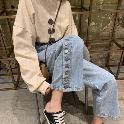 韓国ファッション 合わせやすい ストレートジーンズ