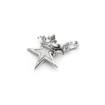 ロイヤルオーダー【公式ストア】☆SMALL STAR w CROWN w Paved CZ(CLEAR)  【ROYAL ORDER】