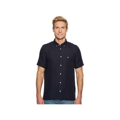 ラコステ Short Sleeve Solid Linen Button Down Collar Regular メンズ シャツ トップス Navy Blue