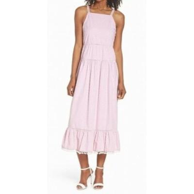 Maggy London マギーロンドン ファッション ドレス Maggy London NEW Pink Striped Stitched 14 Midi Pom-Pom Sheath Dress