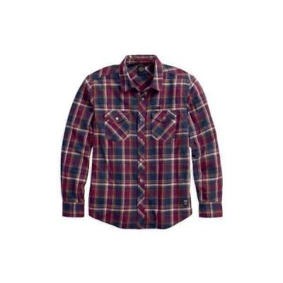カジュアル シャツ ハーレーダビッドソン Harley-Davidson Men's Plaid Cotton Slim Fit Long Sleeve Woven Shirt 96441-18VM
