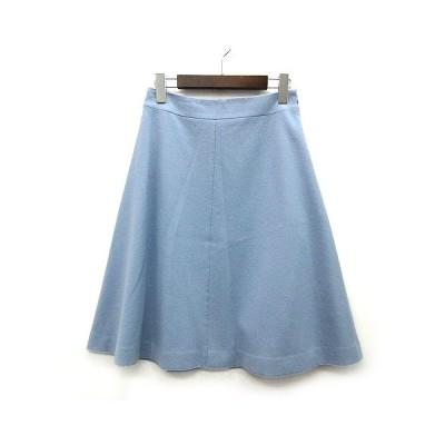 【中古】ノーリーズ Nolley's スカート 膝丈 フレア サイドジップ ウール ライトブルー 38 レディース 【ベクトル 古着】