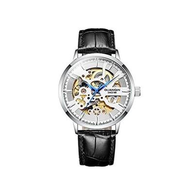 【新品・送料無料】GUANQIN スケルトン 腕時計 アナログ 自動巻き 機械式 ウォッチ メンズ 人気 ブランド ステンレススチール と レザー オス 時計 防水 (