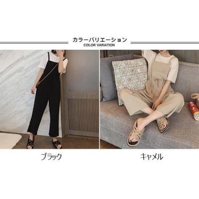 サロペット夏レディースサロペットパンツゆったり薄手オーバーオールワイドパンツ女性オールインワンボトムス