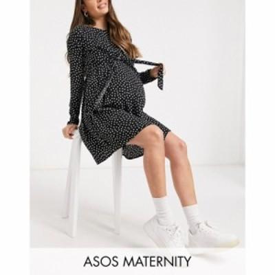 エイソス ASOS Maternity レディース ワンピース Asos Design Maternity Nursing Mini Wrap Dress With Long Sleeves In Mono Spot