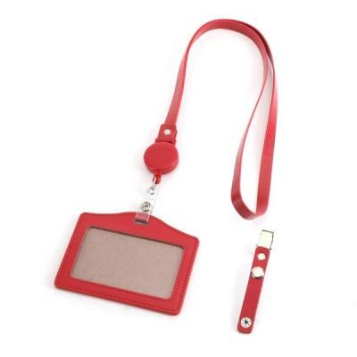 [上革堂] 本革 IDカードホルダー リール付き クリップ付き ネックストラップ付き (T3-RED横)
