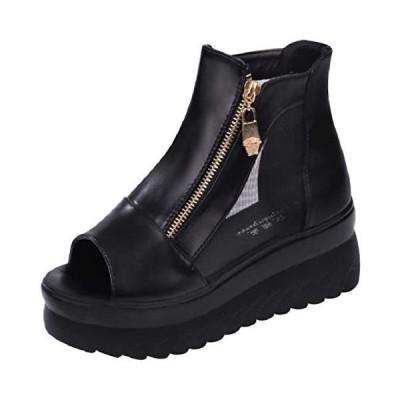[ココマリ] 厚底 靴 シューズ 軽量 サンダル おしゃれ ショート ブーツ ヒール ウェッジソール スニーカー (ブラック 23.0 cm)