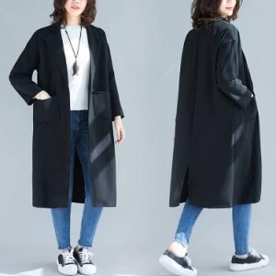 スプリングコート トレンチコート レディース フード付き ロングコート 春秋 カジュアル コーディガン ゆったり ジャケット 大きいサイズ