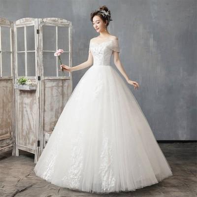 ウエディングドレス レディース 半袖 プリンセスドレス 白い ブライダルドレス 花嫁 ボートネック Aライン 編み上げ ロング丈 演奏会 前撮り ドレス