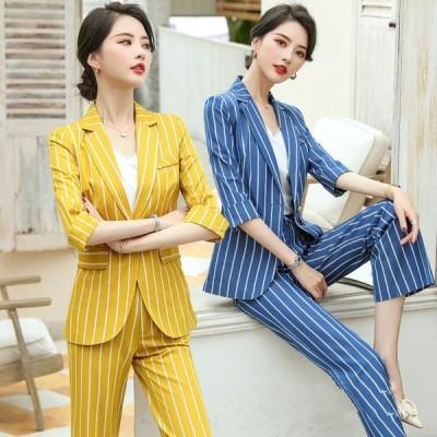 プロのドレススーツ女性のハイエンドレディースドレスフォーマルファッション気質ストライプスーツスーツツール作業服
