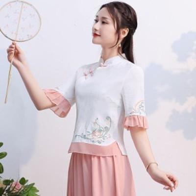 2点送料無料 レディース Tシャツ 中国風 春夏 Tシャツ 新作 刺繍 トップス チャイナ風 ゆったり 大きいサイズ Tシャツ 花柄 気質 スリム