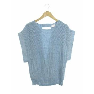 【中古】ケイビーエフ KBF アーバンリサーチ セーター ニット クルーネック 半袖 One 青 ブルー /TM10 レディース