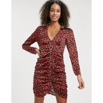 エイソス レディース ワンピース トップス ASOS DESIGN ruched button through mini dress in satin floral print Black based floral
