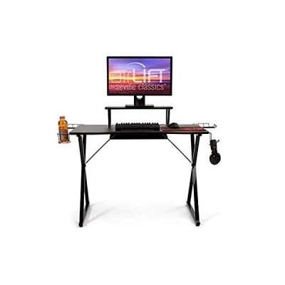 """Seville Classics Airlift 41.7"""" Esports Gaming Desk w/Removable Riser, Headp"""