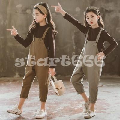 韓国子供服 2点セット 春秋 カジュアル ナチュラル tシャツ ズボン 長袖 オールインワン 切り替え セットアップ ゆったり リゾート 女の子 キッズ 可愛い