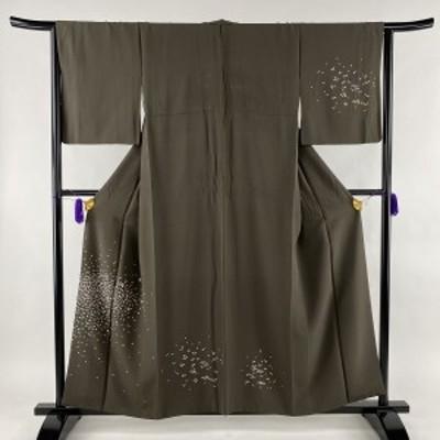 付下げ 秀品 幾何学 刺繍 焦茶色 袷 身丈157.5cm 裄丈64.5cm M 正絹 中古