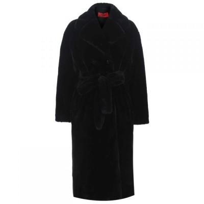 ヒューゴ ボス HUGO レディース コート ファーコート アウター Faux Fur Coat Black