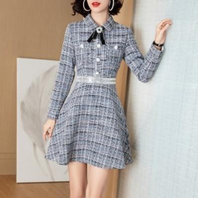 襟付き 装飾 ボウタイ ツイード バイカラー ウエストマーク ボタン エレガント ショート ドレス