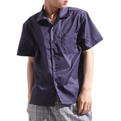 (Valletta/バレッタ)【Valletta】 無地 ストライプ柄半袖オープンカラーシャツ[171903] ストライプ柄 無地 開襟 開襟シャツ シンプル ビッグシャツ ワイ/メンズ ネイビー系1