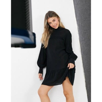 ローラ メイ Lola May レディース ワンピース ワンピース・ドレス high neck dress with drop hem with ruffle detail ブラック