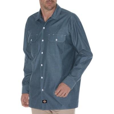 ディッキーズ シャツ トップス メンズ Dickies Men's Relaxed Fit Long Sleeve Chambray Shirt Blue Chambray