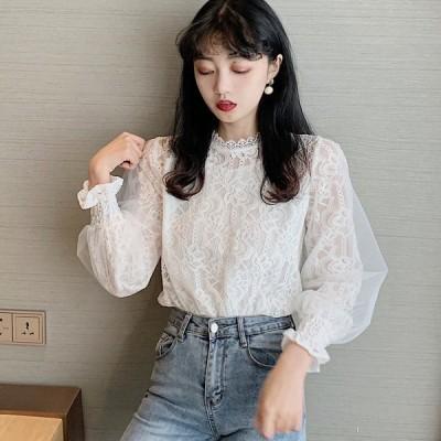 花柄レースブラウス Mサイズ ホワイト ホワイト ブラウス シャツ トップス 韓国ファッション 中国ファッション インポート 海外 セレクト カジュアル