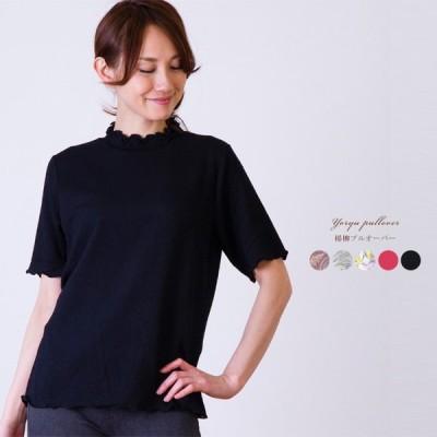 レディース 楊柳プルオーバー 日本製 (カットソー Tシャツ 半袖 トップス 無地 柄物 インナー)