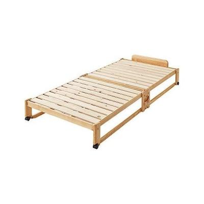 中居木工 折りたたみひのきスノコベッド ロータイプ シングル 木製 ヒノキ すのこ 日本製 天然木 カビ防止 コンパクト 省スペース (ナチュラル)
