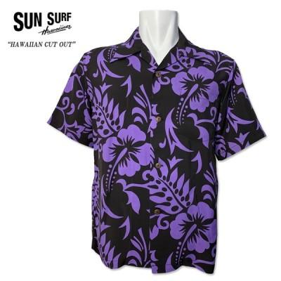 """SUN SURF(サンサーフ) """"HAWAIIAN CUT OUT"""" 半袖アロハシャツ ハワイアンシャツ ハイビスカス モンステラ SS38327 119 ブラック 黒色 花柄 ハワイ"""