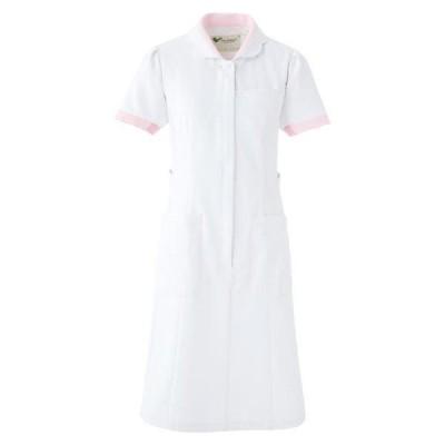 ミドリ安全 ベルデクセルフレックス ワンピース ホワイト×ピンク (S〜4L) VEM105 ナース 制服 白衣 医療 衛生 作業着