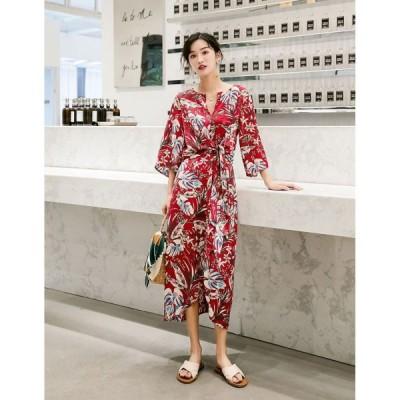 春夏 ドレス ワンピース ビーチドレス ロングドレス 花柄 ボタニカル柄 七分袖 袖あり Vネック